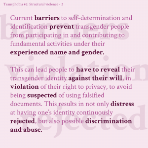 Third slide in infographic series about structural transphobic violence